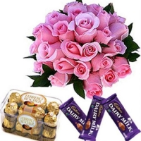 Pink Roses With Ferror Rocher Chocolate Box