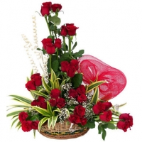 36 Red Rose Basket