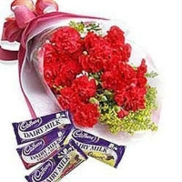 Carnations Bouquet With Cadbury Chocolates