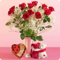 1 dz Red Roses W/ Chocolate & Hug Bear
